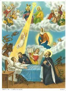 "Catholic Print Picture DEATH SCENE w/ St. Camillus de Lellis 7 1/2x10"""