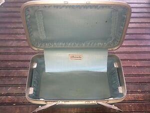 Vintage Samsonite Silhouette Retro Blue Travel Bag HARD Suitcase Purse Luggage