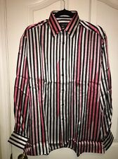 NWT Genelli 100% Long Sleeve Striped Shirt Size M International Male