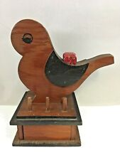 Vintage Wooden Bird Shaped Sewing Box Sewing Tool Stand Pin Cushion Bobbin Stand