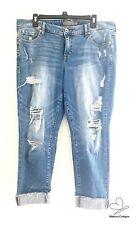 Torrid Crop Boyfriend Vintage Stretch Distressed Denim Jeans Size 12 Medium Wash