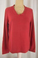 Jones New York Terracotta Red Medium M 100% Cashmere V-Neck Long Sleeve Sweater