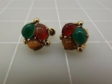 Gold Plated Colorful Scarab Quartz Screw On Earrings 4.9Grams