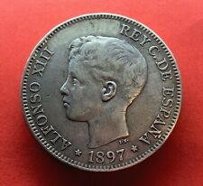 🔥VERY INTERESTING🔥SILVER COIN 1 PESO PHILIPPINES 1897 ALFONSO XIII
