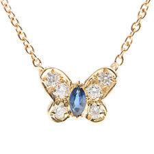 Van Cleef & Arpels 18K Yellow Gold Diamond Sapphire Butterfly Necklace