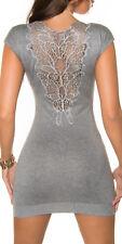 GREY LACE BLING jumperdress SHORTSLEEVE bling dress GLITTER 8 10 12 NECKLACE