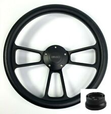 "14"" Black Steering Wheel (Black Half Wrap, GMC Horn Button, Adapter A01)"