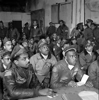 TUSKEGEE AIRMEN Getting a Briefing in Ramitelli, Italy- 332 Fighter 1945  PHOTO