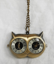 Owl Design Double Face / Dial Brass Pocket Watch - Steampunk Accessory - BNWT