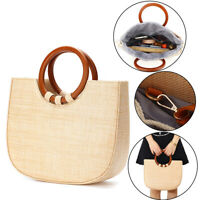 Women Straw Rattan Bag Beach Wicker Bag Round Woven Handbag Holiday Purse Summer