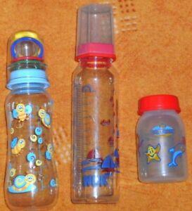3 Babyfläschchen, versch. Marken/Größen, Kunststoff/Glas, ohne Sauger, gebraucht