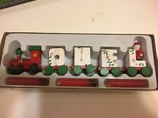 Noel Holiday Christmas Candle Miniature Collectible Wooden Train Set circa 1983