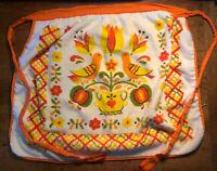 Vintage Apron White Orange Yellow Floral Fruit Retro Half Apron Terry Cloth