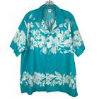 Vintage Aikane Hawaiian Shirt Mens Size Large Blue White Orchids Button Front
