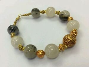 Afghan Natural Black Rutilated Quartz Beads with Gold Plated Bracelet 7.7 inches