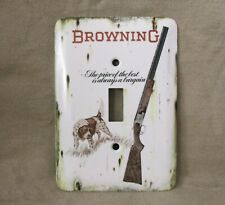 Browning Superposed Shotgun with Hunting Dog - Metal Light Switch Cover - New