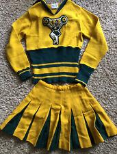 Vintage Kandel Cheerleader Uniform Sweater And Skirt Mustard 1960s OREGON XS 34