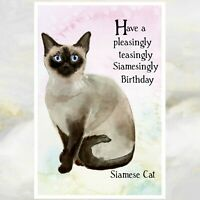 """HAPPY BIRTHDAY GREETINGS CARD BEAUTIFUL SIAMESE CAT /& KITTEN /""""ESPECIALLY FOR YOU"""