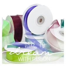 25mm Organza ribbon Premium 25mm x 50m 23+ Colours, Multi Listing, New
