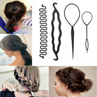 4pcs 3 Kinds Magic Braid Hair Pin Hair Twist Curler Bun Maker Styling Tool Set