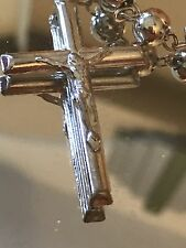 "Sterling Silver 925 Rosary Jesus Cross Chain 39"" Long Unisex"