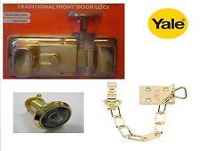 CENTURY TRADITIONAL (YALE) 60mm BRASS NIGHTLATCH LATCH CYLINDER WITH CHAIN & SPY