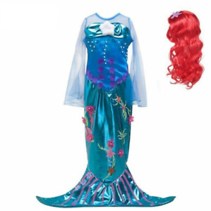 Girls Princess Cosplay Costume Little Mermaid Dress Fantasy Halloween Party Gown