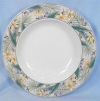 Christopher Stuart Polynesia Soup Bowl Rimmed Y0235 Blue Yellow Flower Porcelain