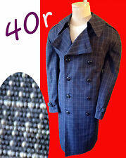 John Weitz Plaid trench coat 40r medium vtg pea coat long blue rain harbor