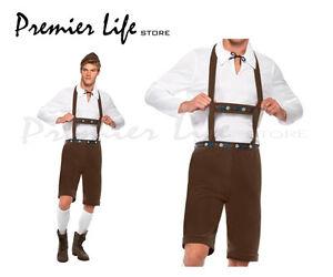 Bavarian Man Costume Lederhosen Shorts with Braces Top and Hat (Medium, Brown)