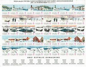 S26889) Sweden 1976/77 MNH Tuberculosis Christmas Sheet God Helg Cinderella