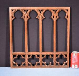 *French Antique Gothic Revival Panel in Solid Oak Wood Salvage