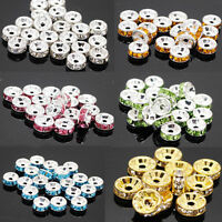 50/100Pcs Quality Crystal Rhinestone Silver Plated Rondelle Spacer Beads DIY 6mm