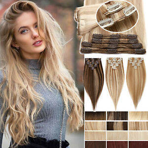 Straight/Wave THICK Clip In HUMAN Hair Extensions Remy Hair Double Weft 8 PIECES