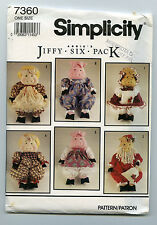 SIMPLICITY 7360  18 INCH COUNTRY RAG DOLL PIG + CLOTHES + SANTA OUTFITS