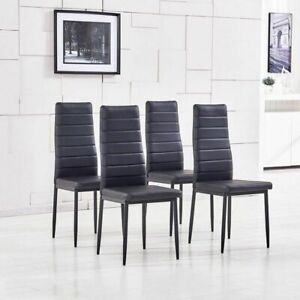 4pcs Black Faux Leather Dining Chairs Kitchen Dinning Room Metal Leg Padded Seat