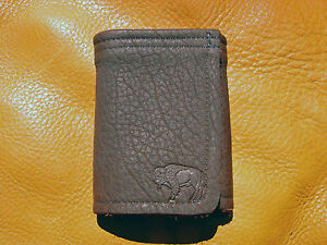 Brown BUFFALO LEATHER TriFold Wallet hand crafted disabled Navy veteran USN 5009