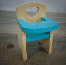 "VTG Kidkraft 11"" Barbie Doll Baby Blue HIGHCHAIR SEAT Wooden Dollhouse Furniture"