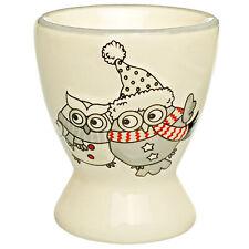 Egg Cup - Owl in Winter - Porcelain/Ceramic - Eggs Holder - Owl Christmas