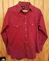 Plains Western Wear Shirt Mens Maroon Sz S Pearl Snap Long Sleeve Retro VTG