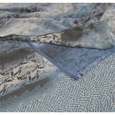 Sanskriti Vintage Printed 100% Pure Crepe Silk Saree Blue Sari Craft Fabric