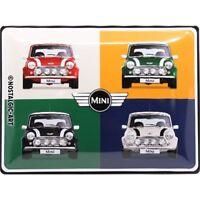 Mini Cooper Pop Art 4 Cars Grande con Relieve Letrero de Metal 400mm X 300mm (Na