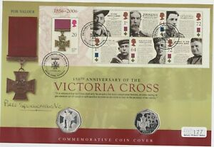 2006 VICTORIA CROSS SILVER PROOF 50 PENCE TWO COIN STAMP COVER SET IN FOLDER.