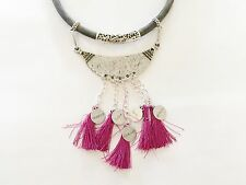 Tribal Necklace Leather Cord Silver toned Pendant w Charms Tassels Shining Bee