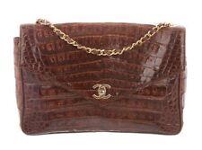 Authentic Vintage CHANEL Brown Crocodile Jumbo Classic 'CC' Bag