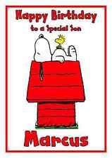 SNOOPY personalizzata A5 compleanno carta Fratello Sorella Nipote Niece nome età