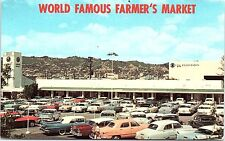 1950s Postcard World Famous Farmer's Market Los Angeles CA California LA Cars