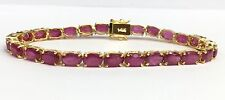 14k Solid Gold Tennis Bracelet, Natural Oval Ruby 6.5 Inches, 20 TCW