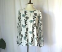 Ann Taylor size M raffle sheer sleeve floral white modest boatneck top blouse