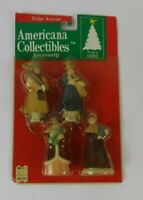 SET OF 4 PORCELAIN CAROLERS CHRISTMAS ORNAMENTS NEW AMERICANA COLLECTIBLES
